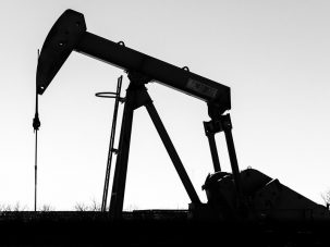silhouette of oil pumping equipment