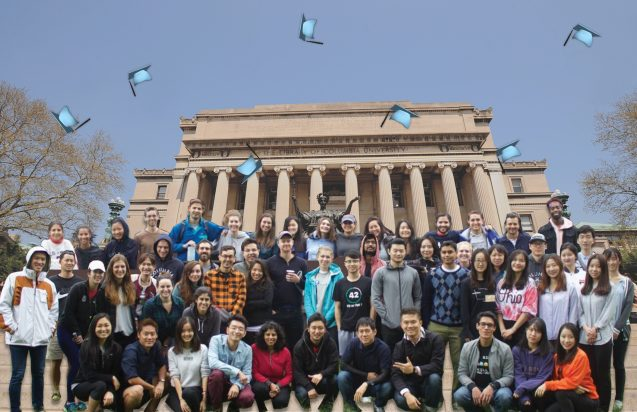 students with columbia backdrop