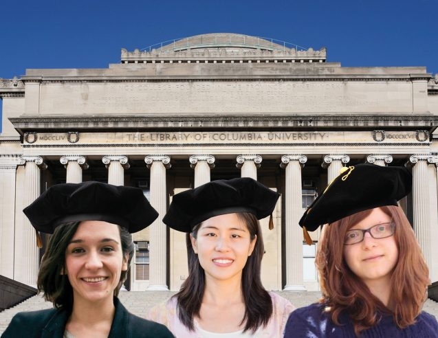 Ana Varela, Ruiwen Lee, and Anouch Missirian with columbia university backdrop