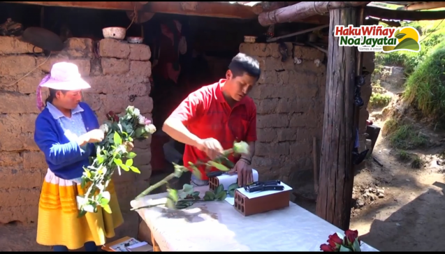 Ancash farmers prepare a bouquet of freshly harvested roses