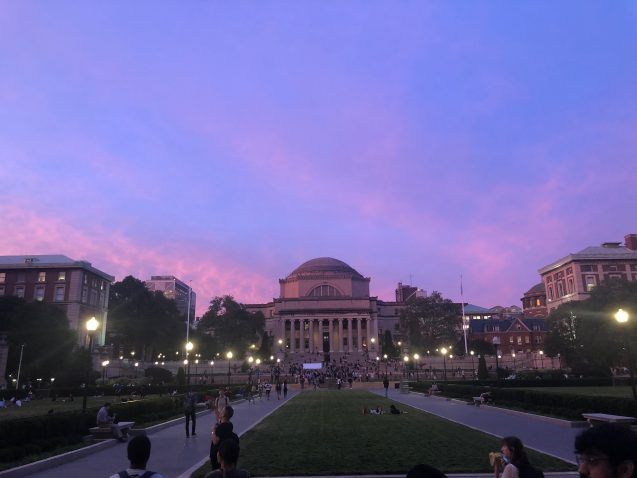 view of low library on columbia campus as night falls
