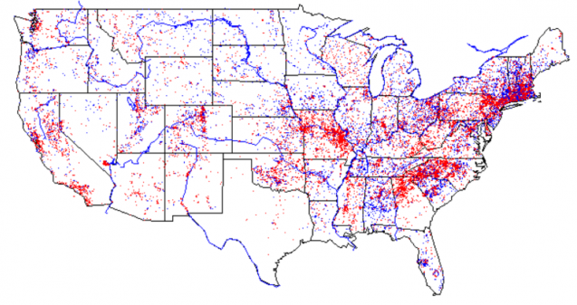 map of us with red and blue dots