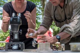 woman looks through microscope