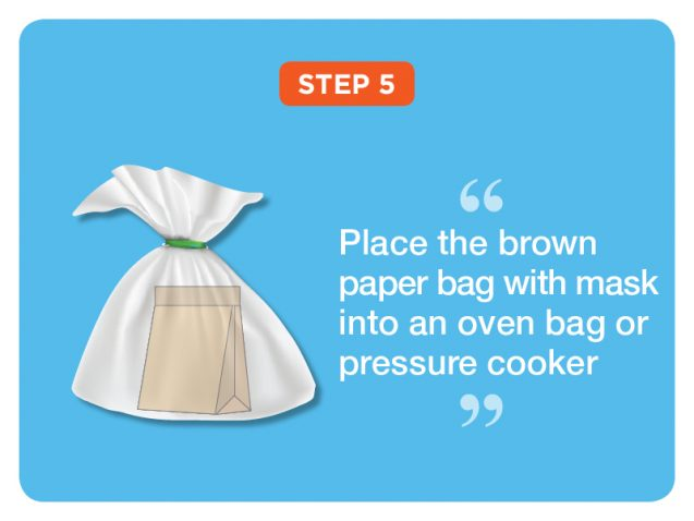 Step 5: Place the brown paper bag with mask into an oven bag or pressure cooker
