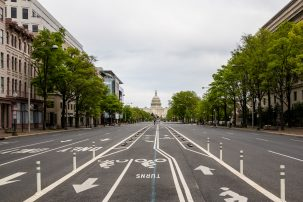 empty streets in Washington DC