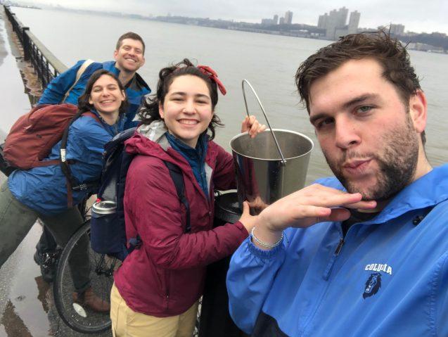 Students sampling the Hudson River at 96th Street.