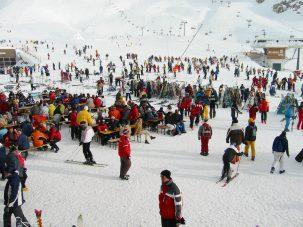 crowd at a ski resort