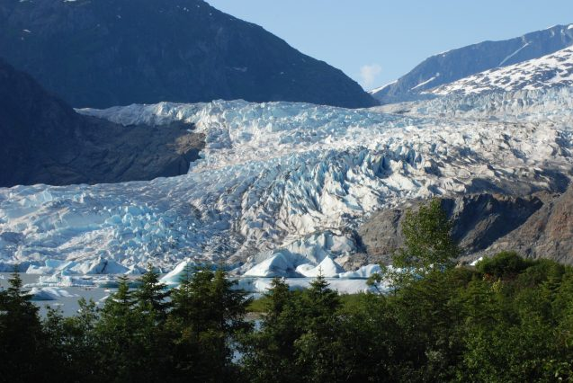 A rugged, blue and white glacier flows into a lake, with trees in the foreground.