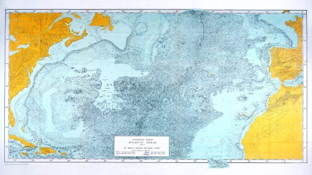 tharp's 1957 map of atlantic seafloor