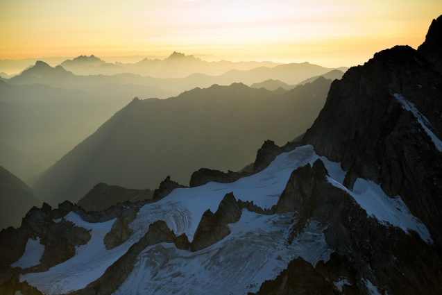 Aerial view of the North Cascades in summer
