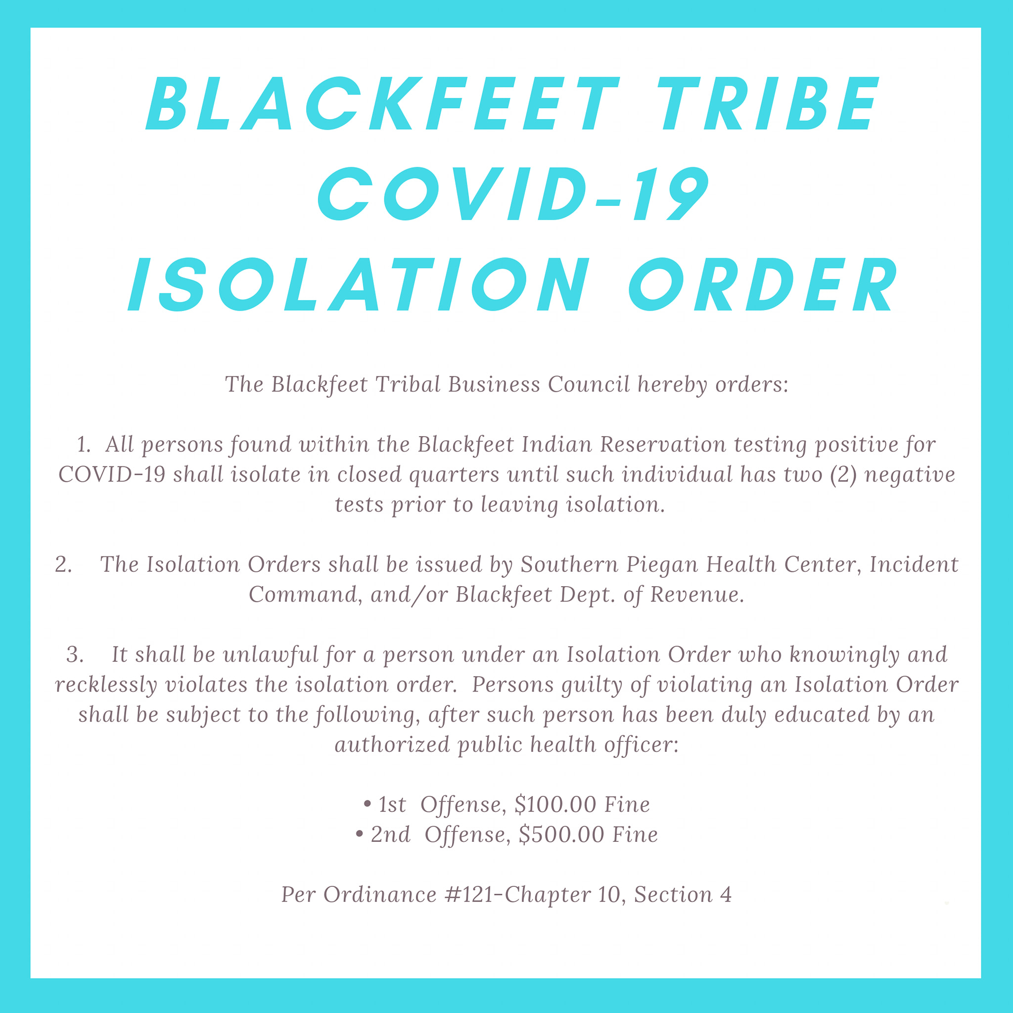 blackfeet nation isolation order