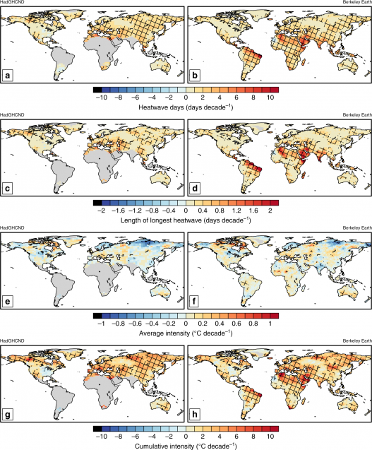 maps showing heat wave trends