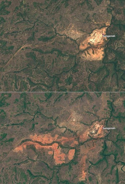 two maps show he expansion of mining operations in Sangaredi