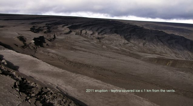 crevasses after 2011 eruption