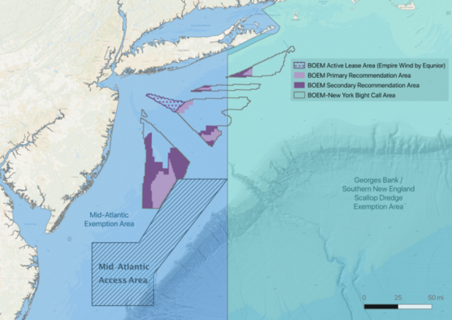 map of scallop fishing and wind energy