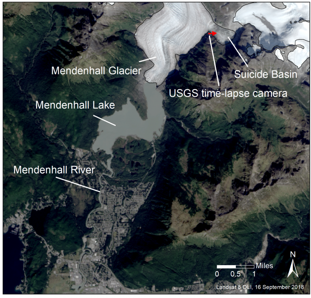 The Suicide Basin, where there is a USGS time-lapse camera, is located to the side of Mendenhall Glacier. The glacier flows into Mendenhall Lake and then south to Mendenhall River.