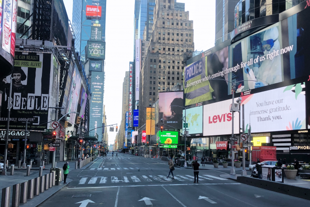 streets empty in time square
