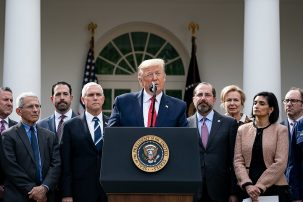 trump speaking during a press conference