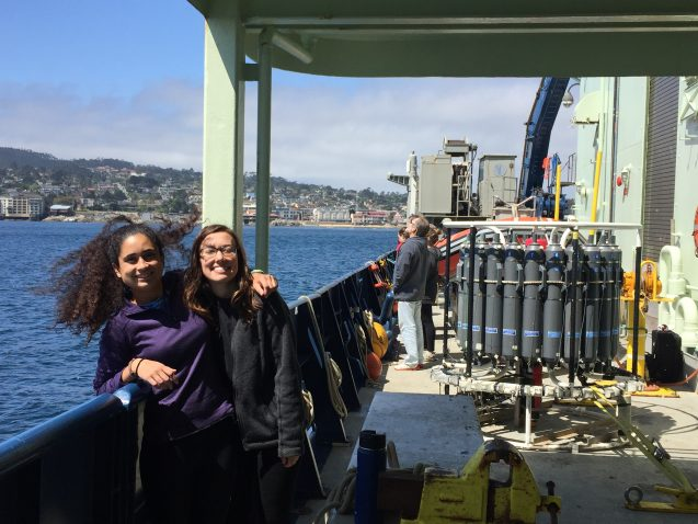 two students on ship