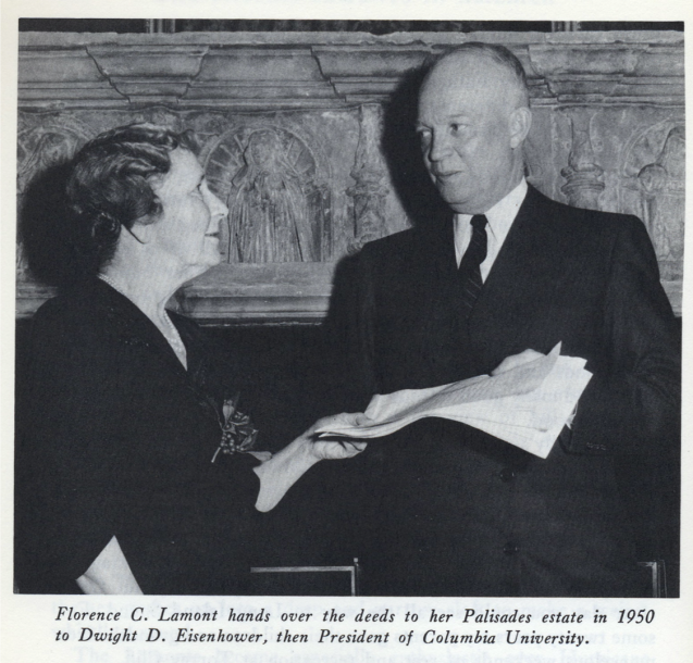 Florence C. Lamont hands over the deeds to her Palisades estate in 1950 to Dwight D. Eisenhower, then president of Columbia University