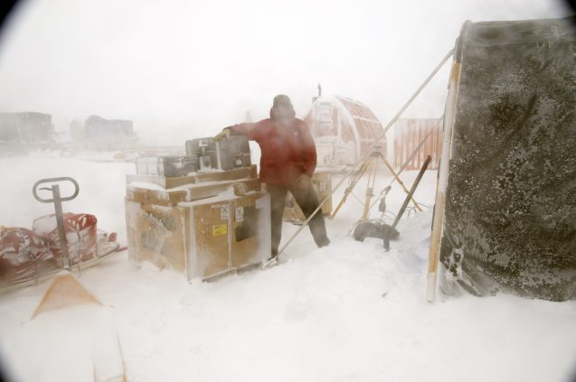 frearson checking boxes in antarctic camp