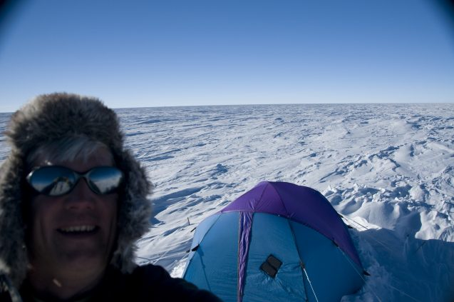 frearson selfie with tent in antarctica
