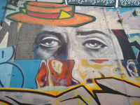 graffiti of eyes and hat