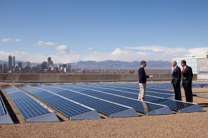 biden and obama with solar panels