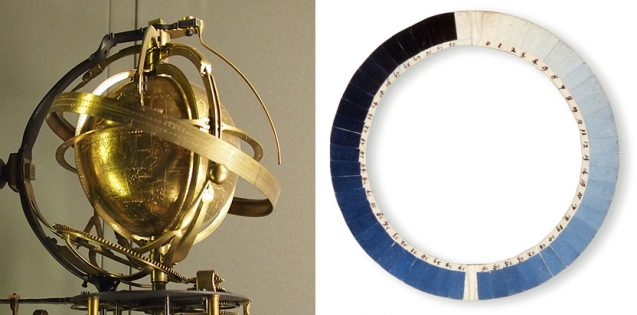 on the left is a gold device with interlocking rings in a globe shape, on right is a round device with varying shades of blue