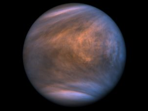 Image of Venus and its thick clouds taken in two bands of ultraviolet light by the Venus-orbing Akatsuki, a Japanese robotic satellite. Credit: <a href=