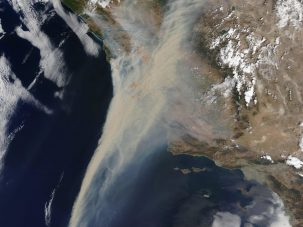 Natural-color satellite image of smoke and fire in California, August 19, 2020. Credit: MODIS Land Rapid Response Team, NASA GSFC