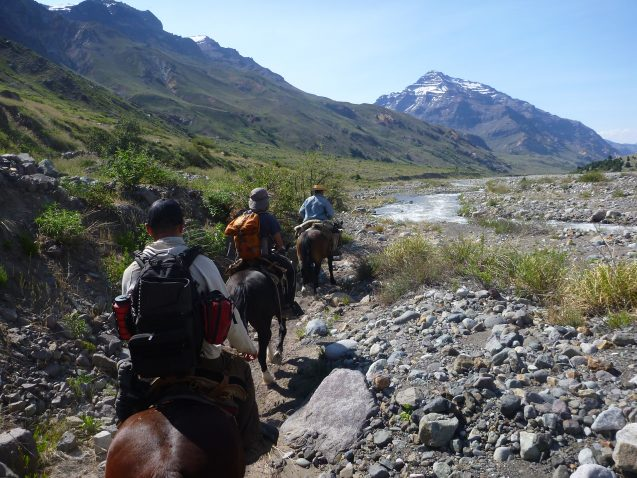 researchers on horseback with mountains in the background