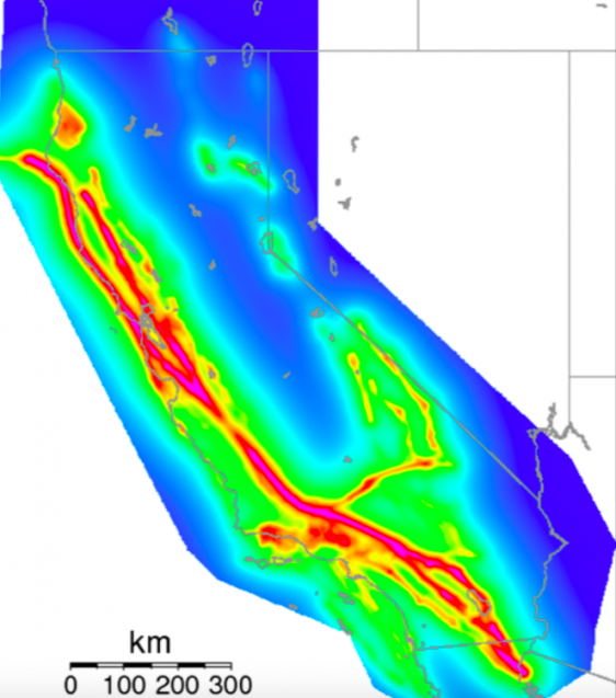 map of simulated earthquake hazards in california