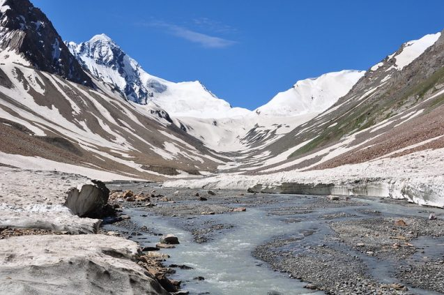 melting mountaintop glaciers draining into a stream