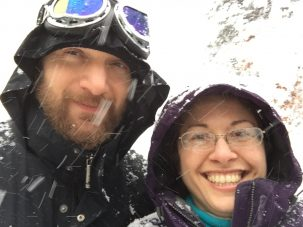 Nichole Anest and her husband in snow