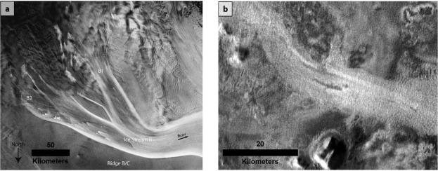 Images showing similarities between glaciers in Antarctica and Mars