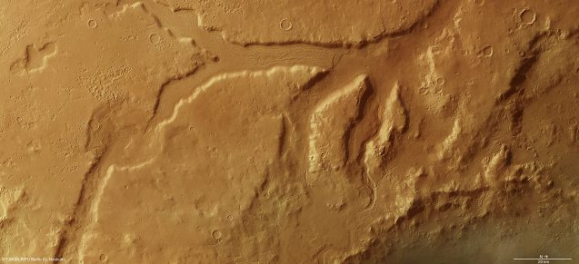 A view of several Martian glaciers taken from above by an orbiting satellite