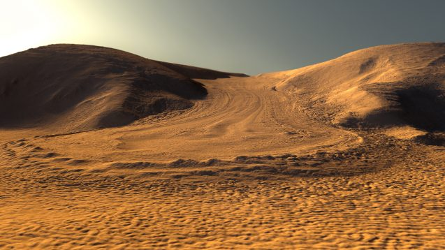 Artist rendering of what a Martian glacier might look like, using real image data from NASA