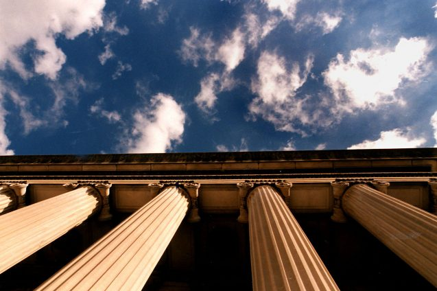 Low Library pillars and clouds in sky