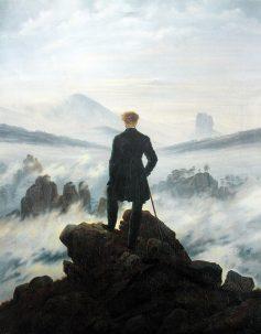 """Wanderer above the sea of fog"" by Caspar David Friedrich, circa 1817. Hamburger Kunsthalle museum."