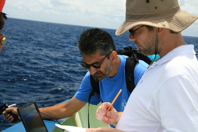 Lamont oceanographers Ajit Subramaniam and Andy Juhl studying the Deepwater Horizon spill