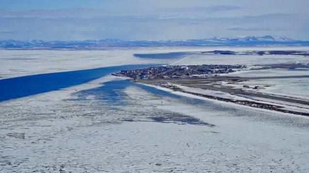 aerial view of town in alaska