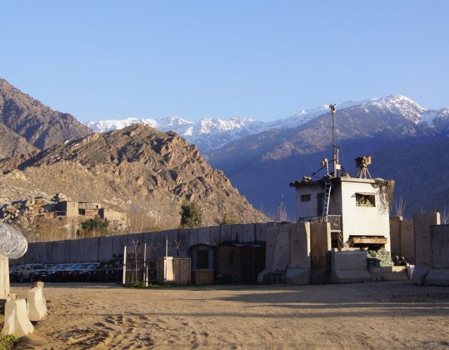 combat outpost with mountains in the background