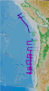 map showing paths across seafloor