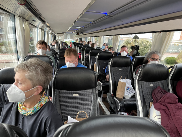 The research team on the bus to the airport.