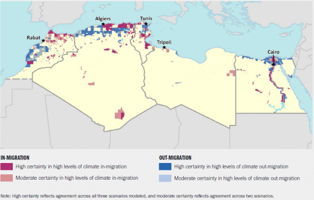 """Map showing """"Hotspots""""--areas of intense activity--of migration in and out of countries of North Africa"""