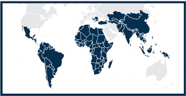 Map showing regions of the world modelled by the report